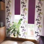 сочетание белого и фиолетового цветов в интерьере