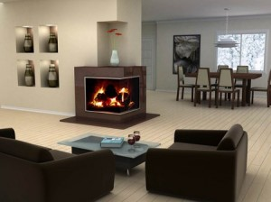 простой интерьер гостинной с камином
